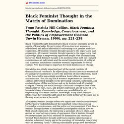 Patricia Hill Collins, Black Feminist Thought in the Matrix of Domination