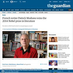 French writer Patrick Modiano wins the 2014 Nobel prize in literature