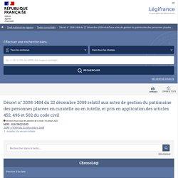 Décret n° 2008-1484 du 22 décembre 2008 relatif aux actes de gestion du patrimoine des personnes placées en curatelle ou en tutelle, et pris en application des articles 452, 496 et 502 du code civil