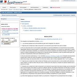 Code du patrimoine. - Article L213-2