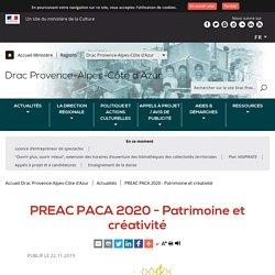 PREAC Paca 2020 - Patrimoine et créativité, 16-17 janvier 2020