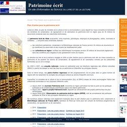 Patrimoine écrit - Plan d'action pour le patrimoine écrit