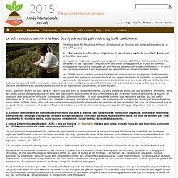 Le sol, ressource sacrée à la base des Systèmes du patrimoine agricole traditionnel