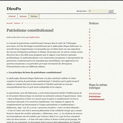 Patriotisme constitutionnel - DicoPo