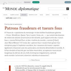 Patrons fraudeurs et tueurs fous, par Denis Duclos (Le Monde diplomatique, août 2002)