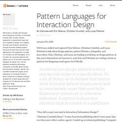 Pattern Languages for Interaction Design - Boxes and Arrows: The