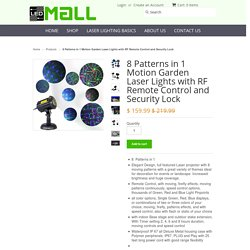 8 Patterns in 1 Motion Garden Laser Lights with RF Remote Control and Security Lock - Laser Lights