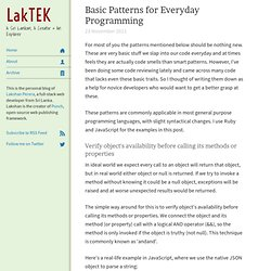 Basic Patterns for Everyday Programming
