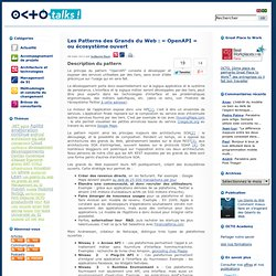 Les Patterns des Grands du Web : « OpenAPI » ou écosystème ouvert