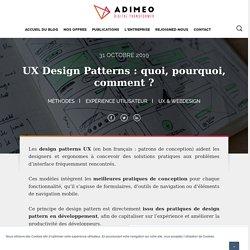 UX Design Patterns : quoi, pourquoi, comment ?
