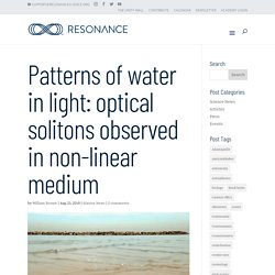 Patterns of water in light: optical solitons observed in non-linear medium - Resonance Science Foundation