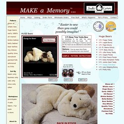 Sleepy, Teddy Bear Patterns, Large Floppy Teddy Bear Patterns, Bunny, Cloth Dolls, Stuffed Animal Patterns, by Judi Lynn Designs.