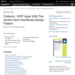 Patterns - WPF Apps With The Model-View-ViewModel Design Pattern