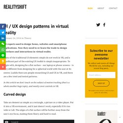 UI / UX design patterns in virtual reality — RealityShift