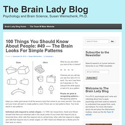 What Makes Them Click » Blog Archive » 100 Things You Should Know About People: #49 — The Brain Looks For Simple Patterns - Applying Psychology to Understand How People Think, Work, and Relate