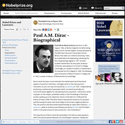 Paul A.M. Dirac - Biography
