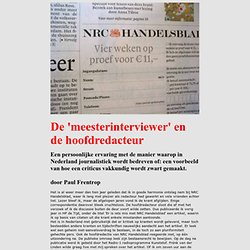 Paul Frentrop De 'meesterinterviewer' en de hoofdredacteur