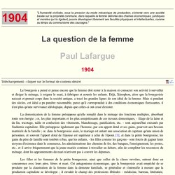 Paul Lafargue : La question de la femme (1904)