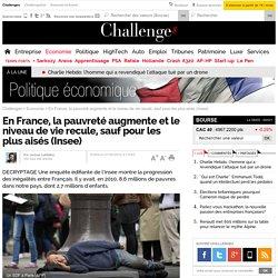 En France, la pauvreté augmente et le niveau de vie recule, sauf pour les plus aisés (Insee)