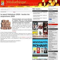 Le pavé littérature 2010
