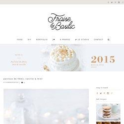 Pavlova de fêtes, vanille & miel - Fraise & Basilic