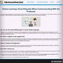 Online Learning: Email Etiquette When Communicating With the Professor