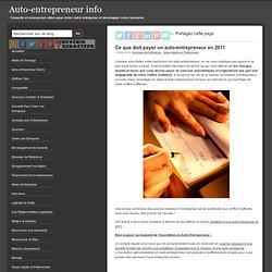 Ce que doit payer un auto-entrepreneur en 2011