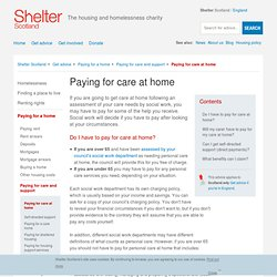 Paying for care at home - Shelter Scotland