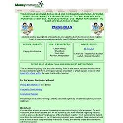Paying Bills Lesson Plan, Teaching Debt Worksheet