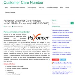 Payoneer Customer Care Number