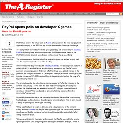 PayPal opens polls on developer X games