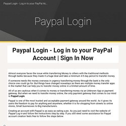 Paypal Login - Log in to your PayPal Account