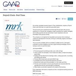 Payroll Clerk - Part Time job with MRK Associates Ltd