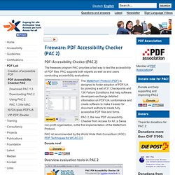 Access for All – Swiss foundation for accessible technologies - Freeware: PDF Accessibility Checker (PAC)