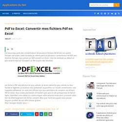 Pdf to Excel: Convertir mes fichiers Pdf en Excel ~ Applications du Net
