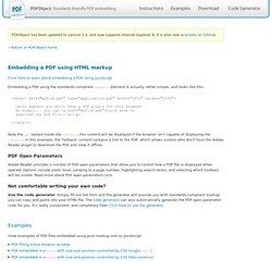 Embedding a PDF using HTML markup