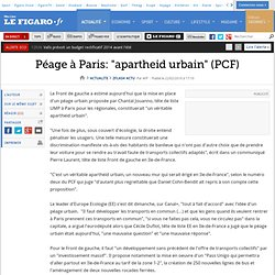 Flash actu : Péage à Paris: ''un apartheid urbain''