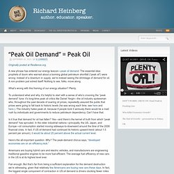 """Peak Oil Demand"" = Peak Oil"