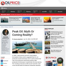 Peak Oil: Myth Or Coming Reality?