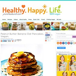 Peanut Butter Banana Oat Pancakes. Vegan