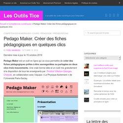 Pedago Maker. Créer des fiches pédagogiques en quelques clics