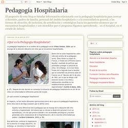 Pedagogía Hospitalaria: ¿Qué es la Pedagogía Hospitalaria?