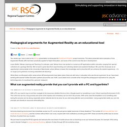 Pedagogical arguments for Augmented Reality as an educational tool - Jisc RSCs Blog