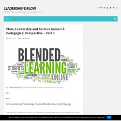 Flow, Leadership and Serious Games: A Pedagogical Perspective – Part 3 – Leadership & Flow