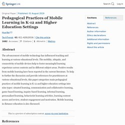 Pedagogical Practices of Mobile Learning in K-12 and Higher Education Settings