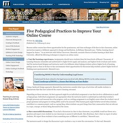 Five Pedagogical Practices to Improve Your Online Course