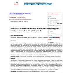AMBIENTES DE APRENDIZAJE: UNA APROXIMACION CONCEPTUAL