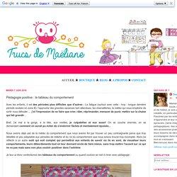 Trucs de Maëliane, le blog.: Pédagogie positive : le tableau du comportement