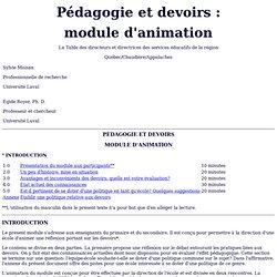 Pédagogie et devoirs: module d'animation
