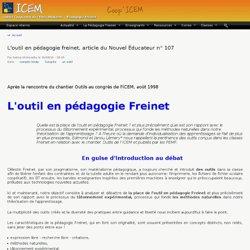 L'outil en pédagogie freinet, article du Nouvel Éducateur n° 107